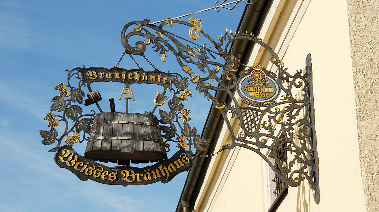 Weisses Bräuhaus Kelheim   Schild